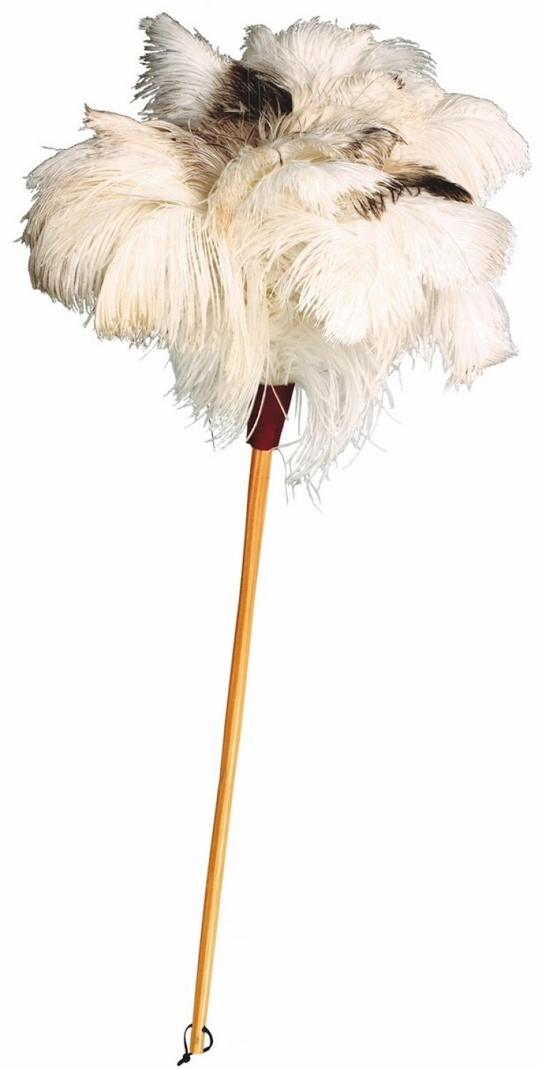 Ostrich Feather Duster - White with unvarnished beech handle 80cm
