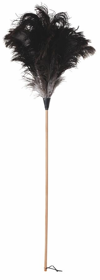 Ostrich Feather Duster - Black with plain untreated beech handle 110cm
